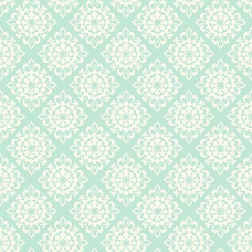 Waverly Kids Aqua and White Lotus Wallpaper