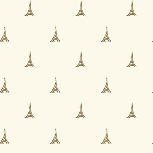Waverly Kids White and Metallic Gold Tres Chic Tower Wallpaper