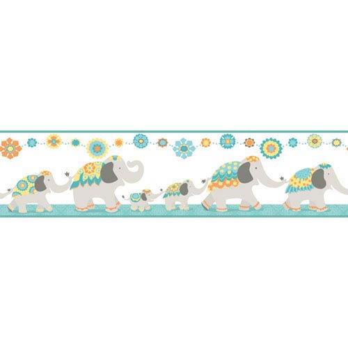 Waverly Kids Turquoise and Orange Follow The Leader Border