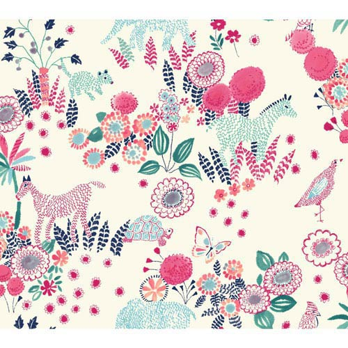 Waverly Kids Pink and Turquoise Reverie Wallpaper
