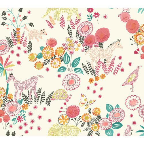 Waverly Kids Coral and Orange Reverie Wallpaper