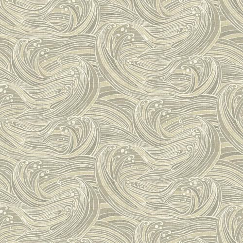 York Wallcoverings Waverly Kids Taupe and Beige Ride The Wave Wallpaper