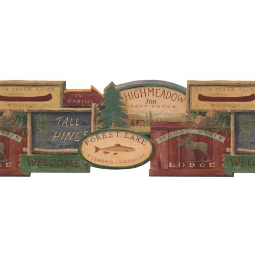 York Wallcoverings Lake Forest Lodge Rustic Lodge Signs Border: Sample Swatch Only