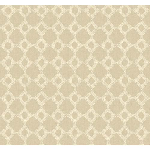 York Wallcoverings Williamsburg II Gray and Beige Wallpaper: Sample Swatch Only