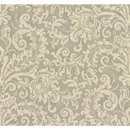 York Wallcoverings Williamsburg II Silver and Beige Wallpaper