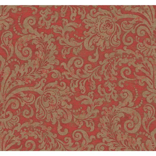 York Wallcoverings Williamsburg II Red Wallpaper: Sample Swatch Only