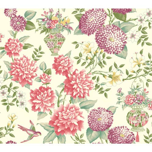 York Wallcoverings Williamsburg II Multicolor Floral Wallpaper: Sample Swatch Only