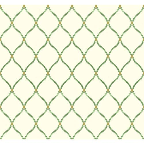 York Wallcoverings Williamsburg II Green Wallpaper: Sample Swatch Only