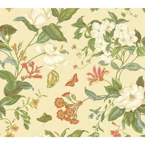 Williamsburg Beige and Orange Garden Images Wallpaper: Sample Swatch Only