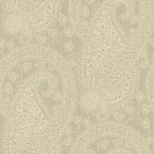 Williamsburg Matte Beige and Metallic Beige Ashland Wallpaper: Sample Swatch Only