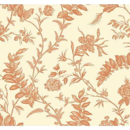 Williamsburg Cream and Orange Solomons Seal Wallpaper