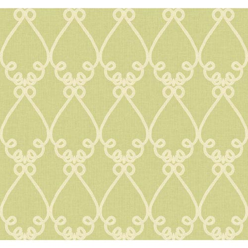 Williamsburg Yellow Green and Beige Galt Embroidery Wallpaper: Sample Swatch Only