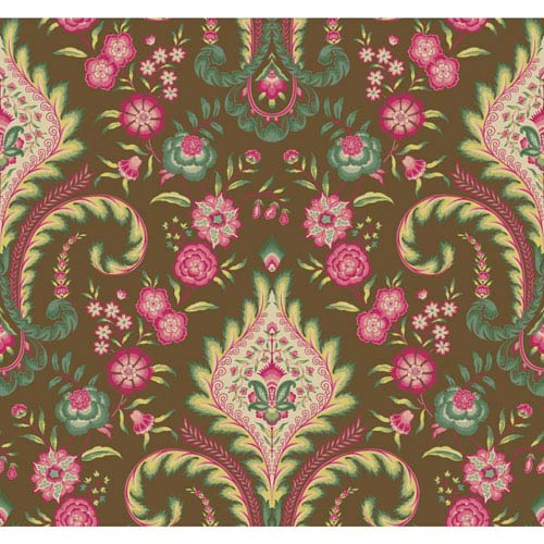 Williamsburg Dark Brown and Pink Isham Indienne Wallpaper