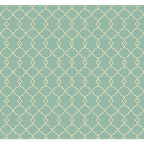 Williamsburg Bright Aqua and Cream Chippendale Fret Wallpaper: Sample Swatch Only