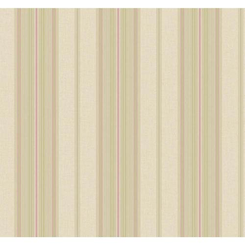 Williamsburg Beige and Purple Amelia Stripe Wallpaper: Sample Swatch Only