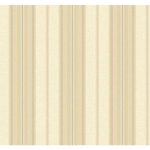 Williamsburg Cream and Gold Amelia Stripe Wallpaper: Sample Swatch Only