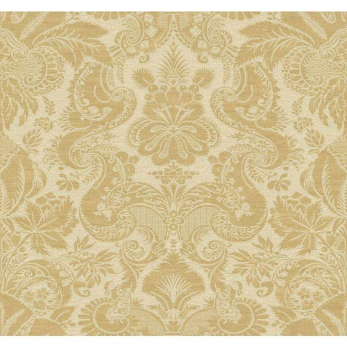 Williamsburg Tan and Gold Dinwiddie Wallpaper: Sample Swatch Only