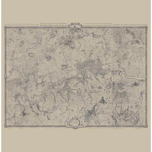Williamsburg Tan and Black John Rocques London Map Mural