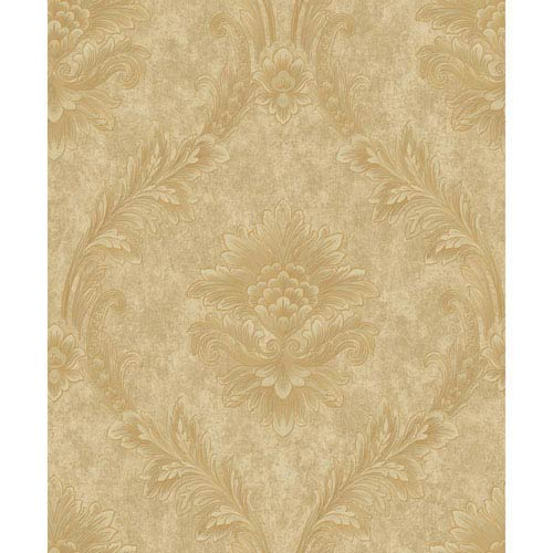 York Wallcoverings Mixed Metals Acanthus Fan Wallpaper- Sample Swatch Only