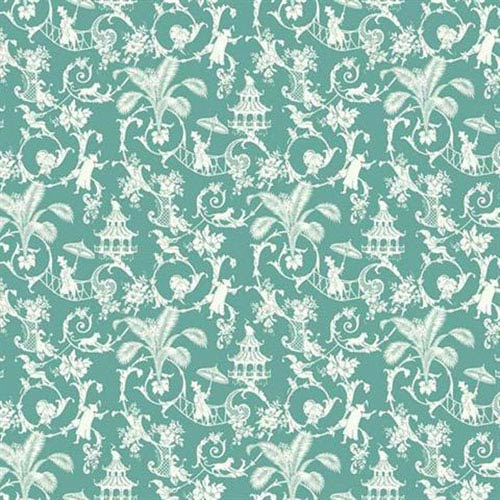 York Wallcoverings Waverly Small Prints Palm Palace Robins Egg Blue And White Wallpaper