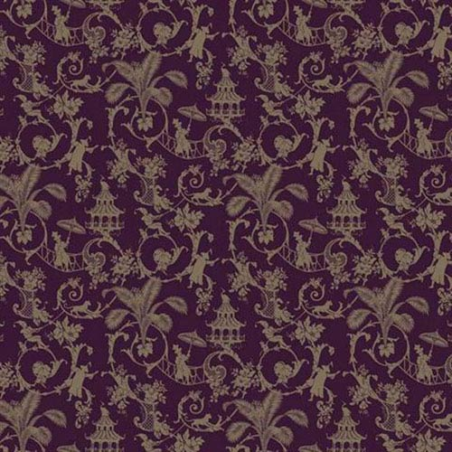 York Wallcoverings Waverly Small Prints Palm Palace Deep Plum And