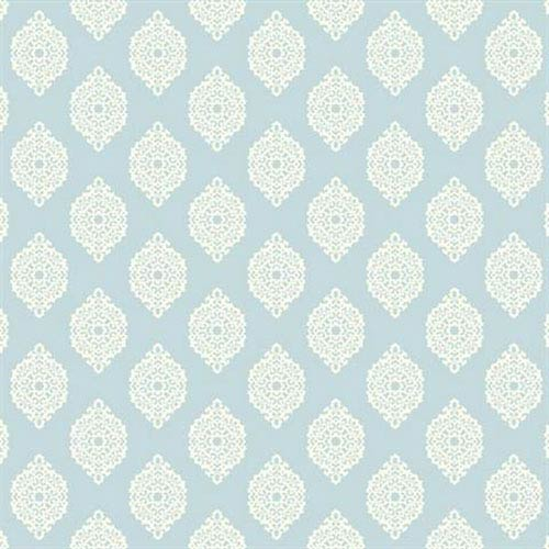 York Wallcoverings Waverly Small Prints Garden Gate Pale Sky Blue and White Wallpaper
