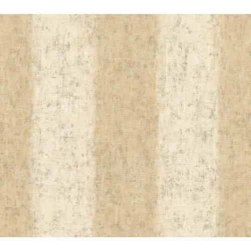 Carey Lind Watercolors Beige and Cream Batik Ogee Stripe Wallpaper