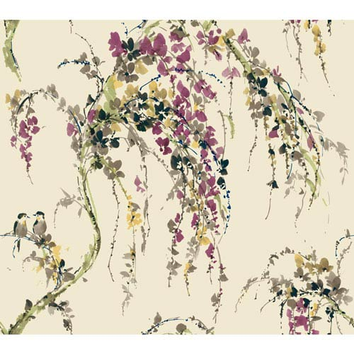 Carey Lind Watercolors Off White and Purple Lovebirds Wallpaper