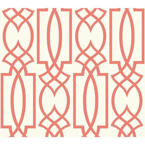 Carey Lind Watercolors White and Coral Large Lattice Wallpaper
