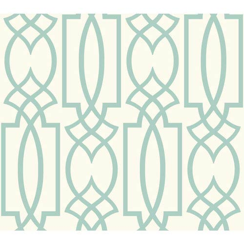 Carey Lind Watercolors White and Aquamarine Large Lattice Wallpaper