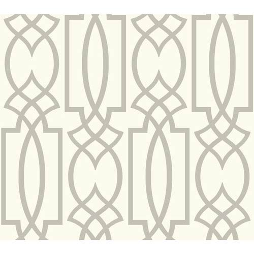 Carey Lind Watercolors White and Grey Large Lattice Wallpaper