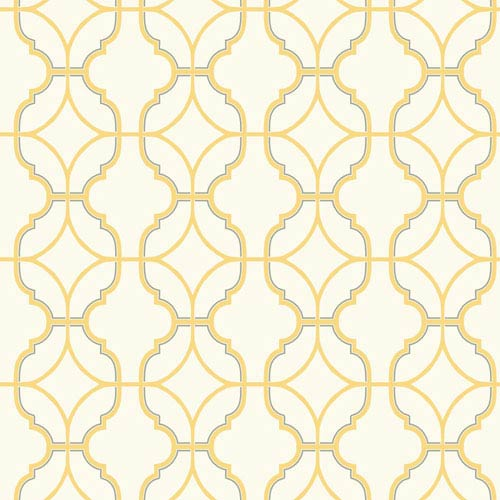 Carey Lind Watercolors White and Yellow Lattice Wallpaper