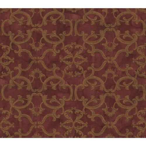York Wallcoverings Inspired by Color Red and Gold Metallic Wallpaper: Sample Swatch Only