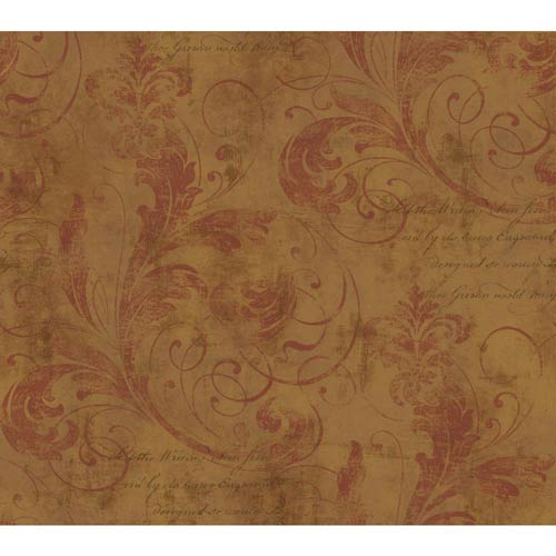 York Wallcoverings Inspired by Color Gold and Russet Wallpaper: Sample Swatch Only