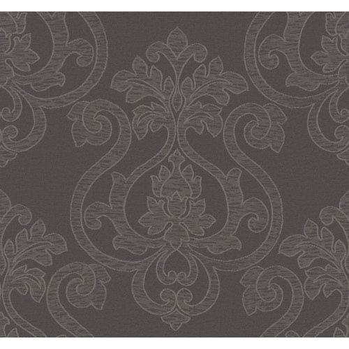 Glam Dark Grey and Metallic Silver Large Medallion Wallpaper