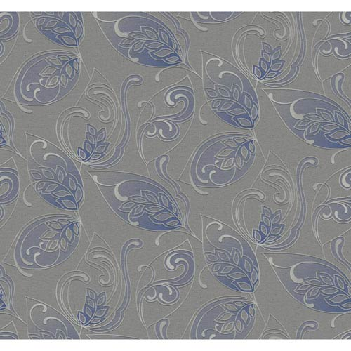 Glam Grey and Blue Leaves Jacobean Wallpaper: Sample Swatch Only