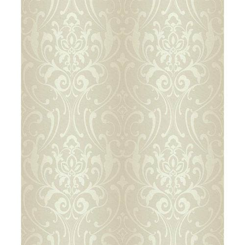 Glam Beige and Cream Damask Wallpaper