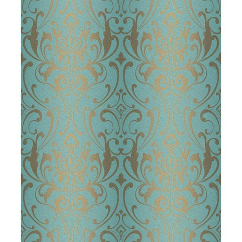 York Wallcoverings Glam Teal And Metallic Gold Damask Wallpaper