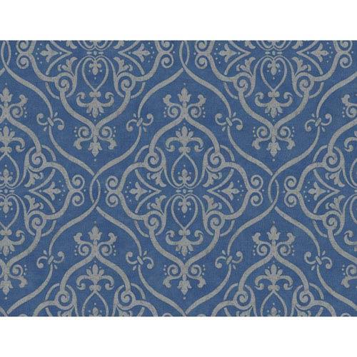 Glam Dark Blue and Gold Interlocking Geo Wallpaper: Sample Swatch Only