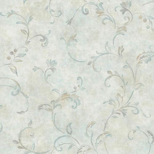 York Wallcoverings Voyage Pendant Scroll Wallpaper: Sample Only