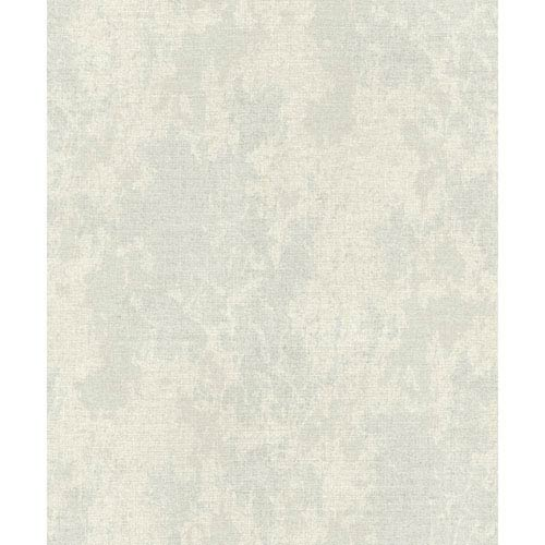 York Wallcoverings Voyage Cloudy Linen Gray and Cream Wallpaper: Sample Only