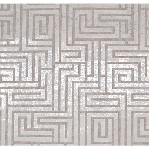 Mid Century Tan and White Metallic Wallpaper