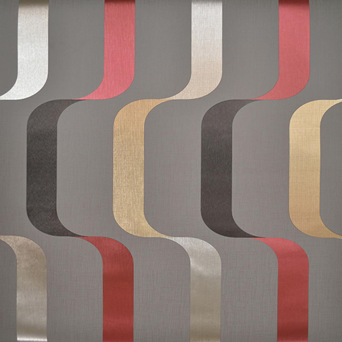 Mid Century Gray, Red and Gold Wallpaper