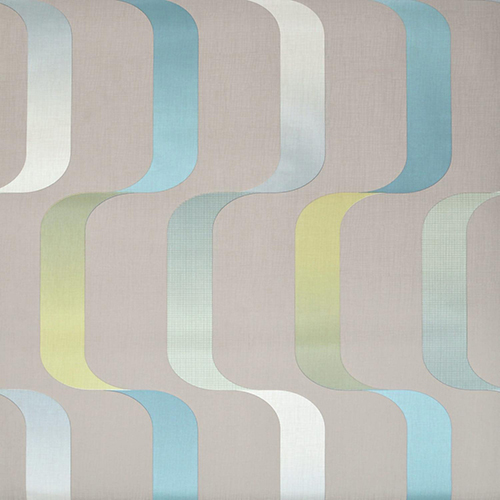 Mid Century Gray, Teal, and Citron Wallpaper
