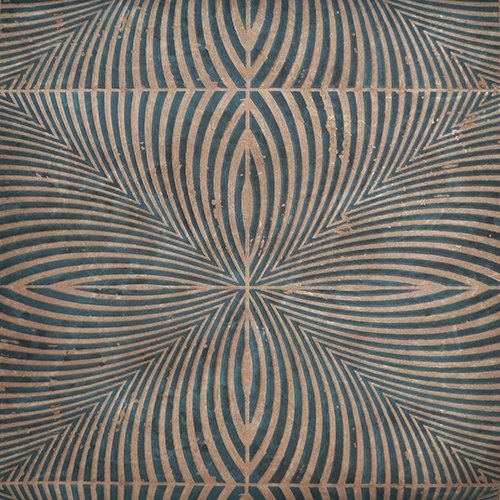 Mid Century Deep Sea and Tan Wallpaper