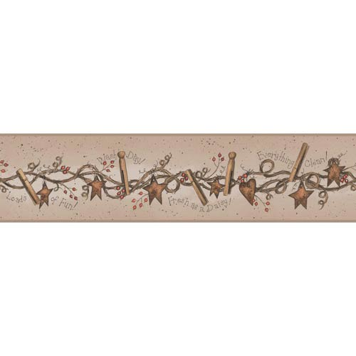 York Wallcoverings Welcome Home Light Taupe, Brown, Red Orange and Black Wash Day Border Wallpaper: Sample Swatch Only
