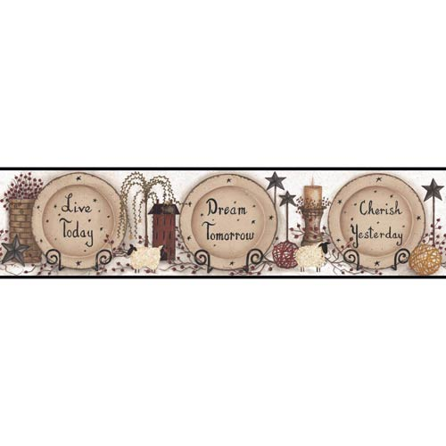 York Wallcoverings Welcome Home Off White, Beige, Tan, Amber, Cranberry Red, Brown and Black Cherish, Live, Dream Border