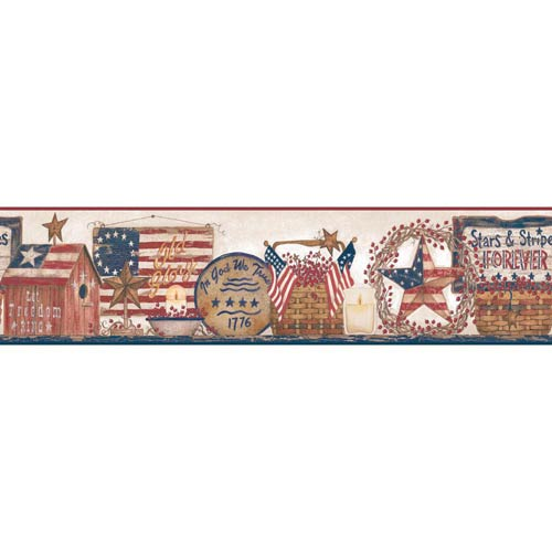 Welcome Home Off White, Red and Blue Patriotic Shelf Border Wallpaper: Sample Swatch Only