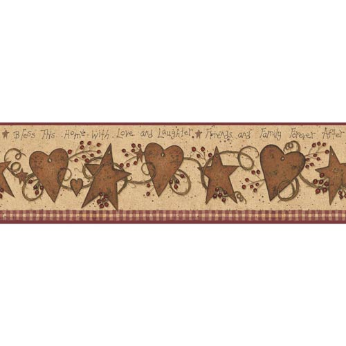 York Wallcoverings Welcome Home Beige, Buff, Rust, Red, Brown and Black Love, Laughter Tin Star Border Wallpaper: Sample