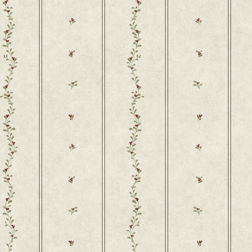 Welcome Home Oyster Grey, Barn Red, Olive Green and Black Mini Leaves Stripe Wallpaper: Sample Swatch Only